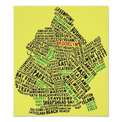 Un mapa de la ciudad de New York City de Brooklyn, compuesta totalmente de nombres de la vecindad y del parque.  ¡Pegúela en una camiseta o una sudadera con capucha, caja del ordenador portátil, los pegatinas, los llaveros o las tazas, y muchos otros artículos!  Usted puede modificar todo para requisitos particulares, especialmente práctico con cosas como tarjetas de visita, etiquetas de dirección o invitaciones del fiesta. ¡Granes ideas para un regalo para los naturales y los habitantes de…