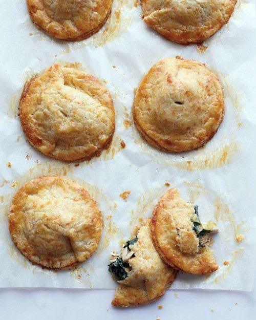 Chicken and Kale Hand Pies with Cheddar Crust - Martha Stewart Recipes: Chicken, Cheddar Crusts, Pies Crusts, Kale Recipes, Kale Hands, Hands Pies, Martha Stewart, Hand Pies, Pot Pies