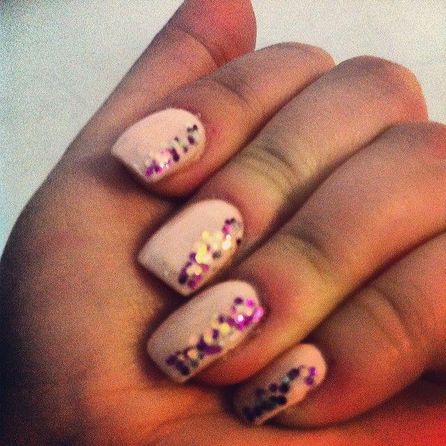 Peach nails with Purple Glitter