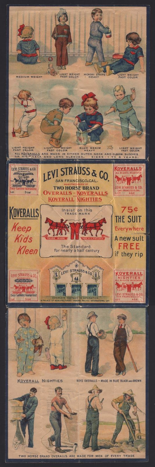 Circa 1915 Levi Strauss & Co. Overalls and Koveralls Advertising Piece