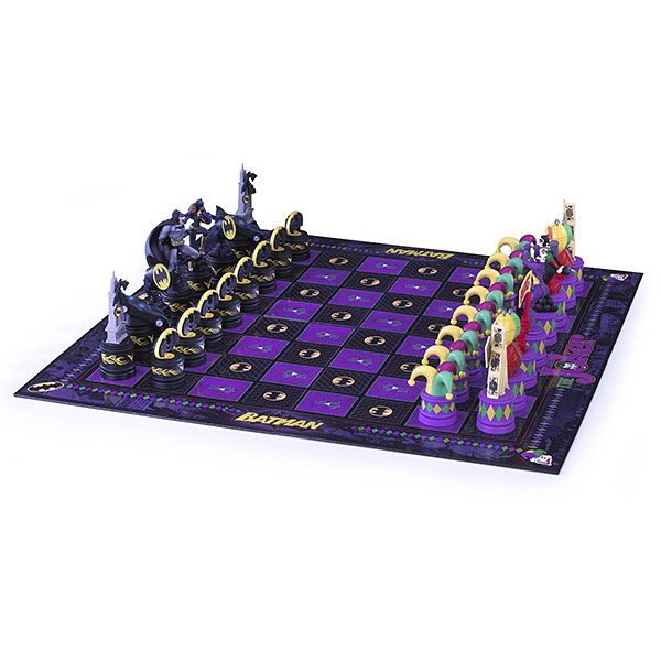 Play chess as Batman and Batgirl or as The Joker and Harley Quinn in this Dark Knight vs. The Joker chess set. Shine your Bat Signal or explode your Joker grenades and try to checkmate your opponent.