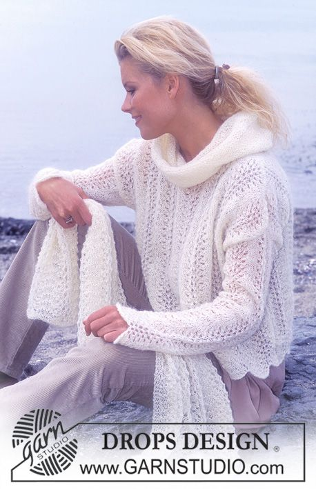 DROPS Pullover and Scarf in Vivaldi Free knitting pattern by DROPS Design.
