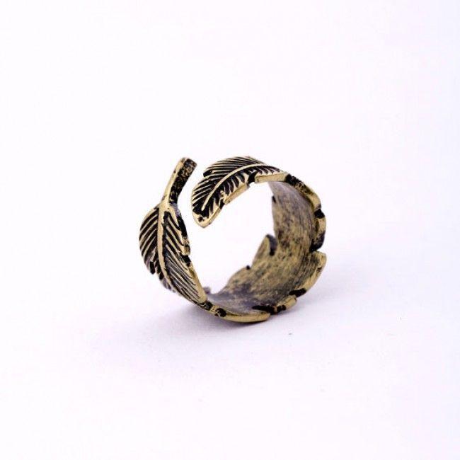 anel vintage de folha