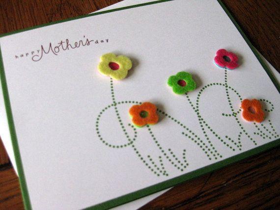 Tarjeta día de la madre con botones o fieltro