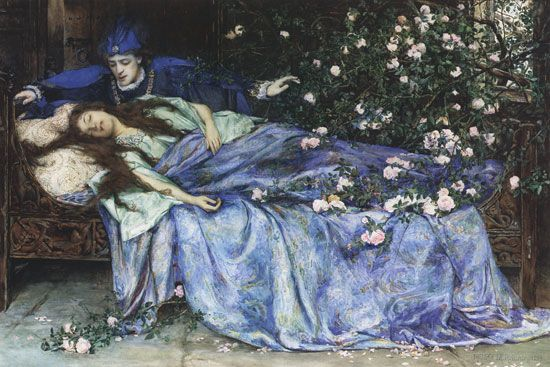 "The secret herstory of maleficent. Henry Meynell Rheam, ""Sleeping Beauty,"" Public Domain image."
