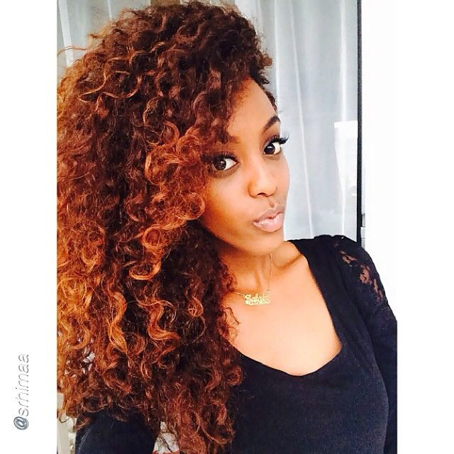 Curly girl! Natural curly hair! love this red copper hair color!!!