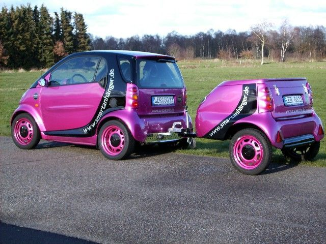 Smart Car trailer. (This is great for when you buy furniture and want to save on