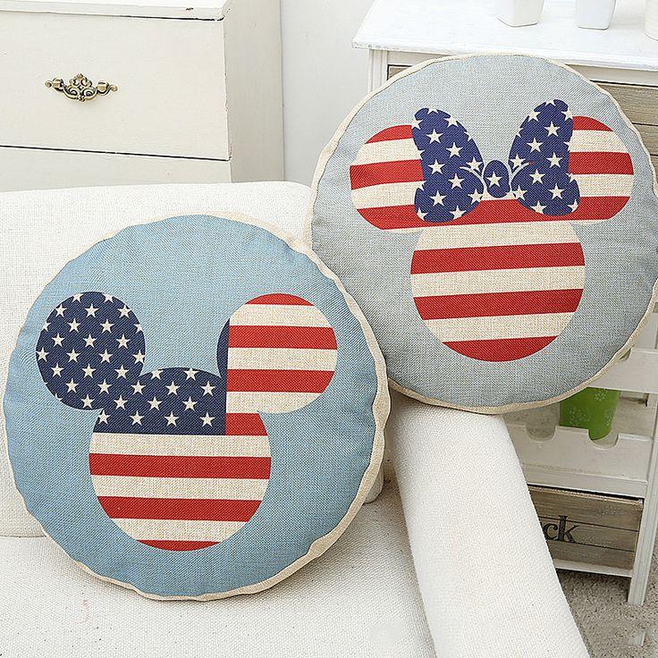 45*45cm Home Decoration Round Mats Pillowcase Linen Mediterranean Cushion Cover Sofa car Office nap Chair Throw Pillow Case