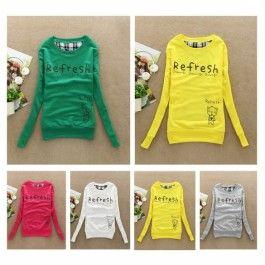Ladies Cotton Letter Printed Sweatshirt cartoon Hoodies Coat