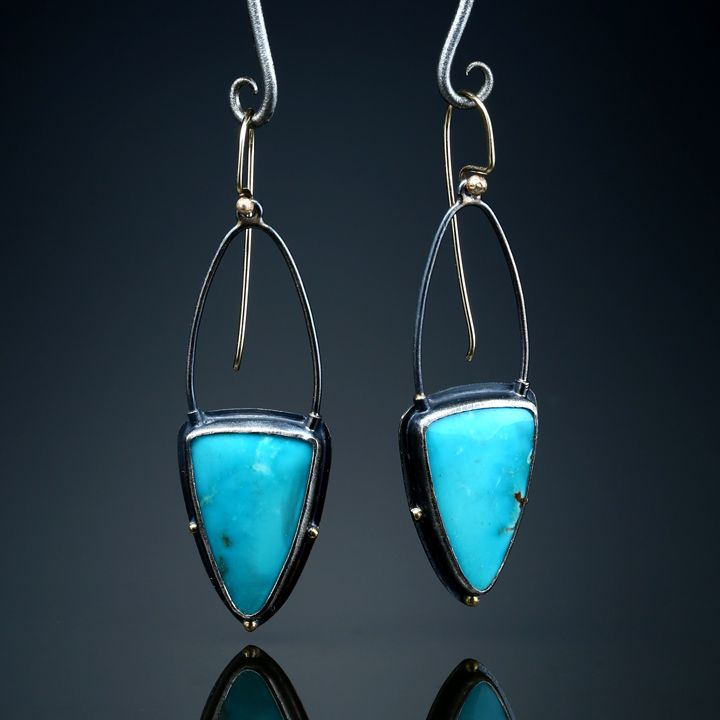Kingman Turquoise Earrings. Fabricated Sterling Silver, 18k and 14k Gold.  www.amybuettner.com https://www.facebook.com/pages/Metalsmiths-Amy-Buettner-Tucker-Glasow/101876779907812?ref=hl https://www.etsy.com/people/amybuettner http://instagram.com/amybuettnertuckerglasow