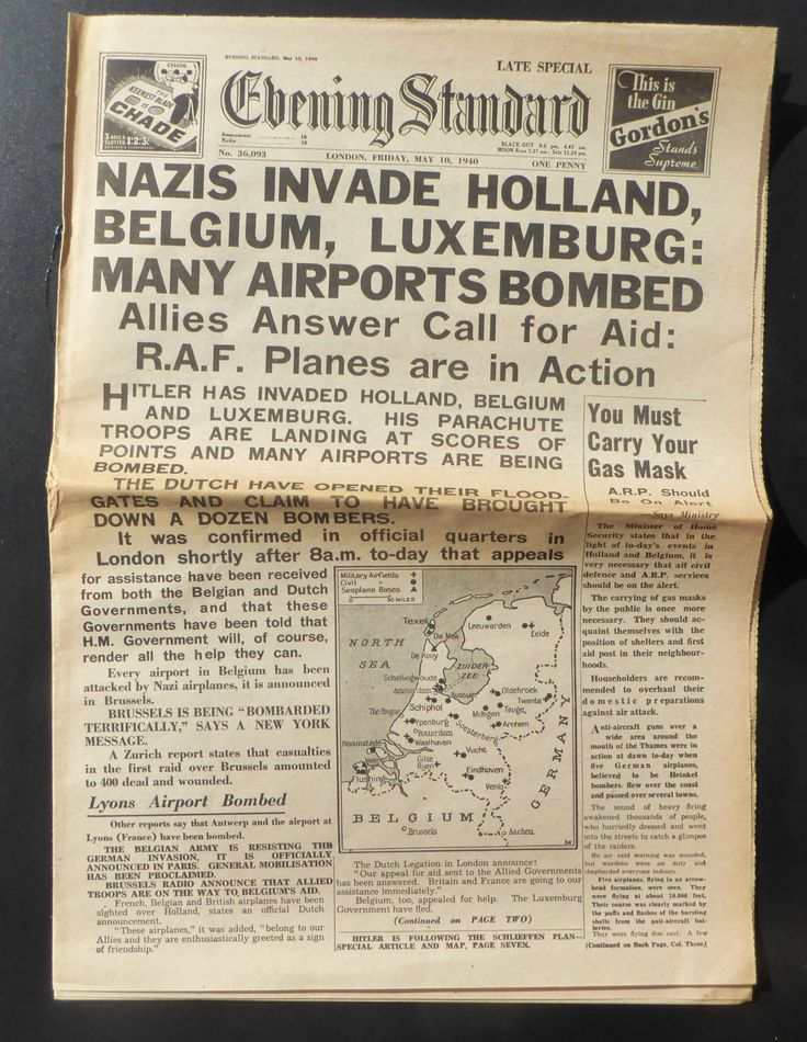 1940 Evening Standard Nazis Invade Holland Belgium Luxemburg Antique Newspaper World War II Vintage Ephemera by BiminiCricket on Etsy