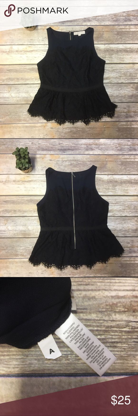 LOFT Petites Black and Navy Lace Peplum Top Gorgeous Peplum top with exposed silver zipper up the back. Top comes in size 2 Petite. LOFT Tops Tank Tops