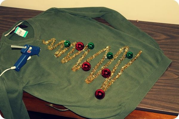 DIY Ugly Christmas Sweater Other thoughts, bows, lights, stockings, toys, ornaments, tinsel, ribbon, etc.