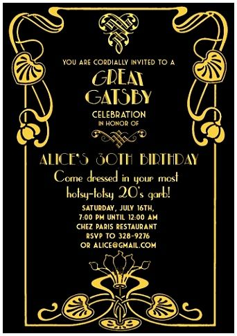 6 Great Gatsby Invitation Template Gatsby Style Pinterest