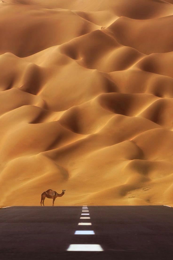 The Road to Rub' al Khali (the Empty Quarter), UAE