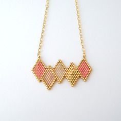 Collier scandinave losanges en perles miyuki ★ or gold filled