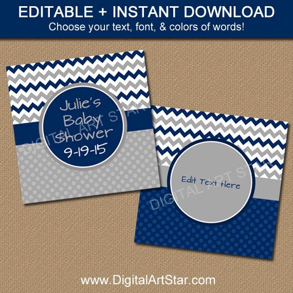 Navy and Grey Chevron Favor Tags - PRINTABLE Baby Shower Tags - EDITABLE Baby Shower Labels - Navy Birthday Tags - Bridal Shower Tags by digitalartstar on Etsy https://www.etsy.com/listing/240252892/navy-and-grey-chevron-favor-tags
