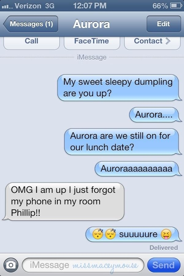 Sleeping Beauty.   10 Texts From Disney Princesses To Their Princes