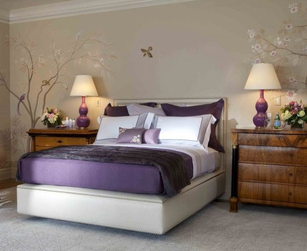 purple and grey decor purple bedroom decor ideas with grey wall and white accent - Bedroom Ideas With Purple