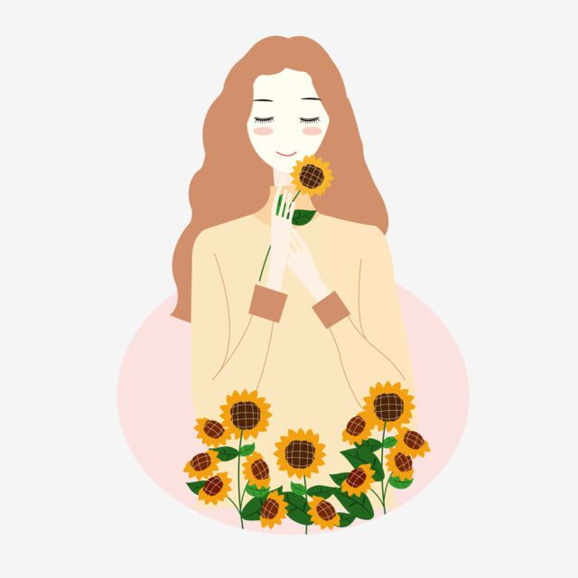 Cartoon Hand Drawn Girl Holding Sunflower In Cartoon Hand Drawn Girl Holding Sunflower In Hand Flowers And Teenagers Png And Vector With Transparent Backgrou In 2021 Banner Drawing Girl Drawing How
