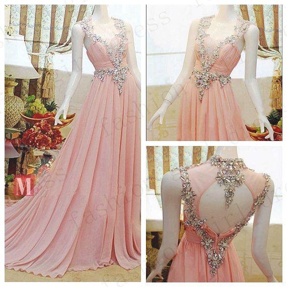 2014 ALine OneShoulder Beads Chiffon Long Prom by fashiongirldress, $168.00