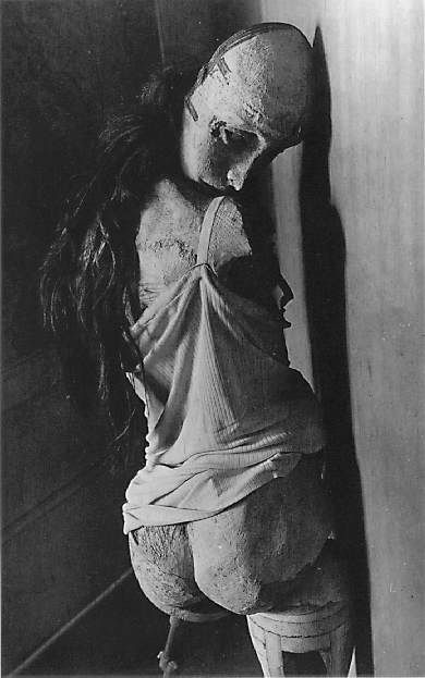 Hans Bellmer. Best known for his assemblage pre-pubescent life sized dolls and surrealist photography offers grotesque yet beautiful imagery that leaves the viewer fascinated and disturbed at the same time. Bellmer's work is said to have been inspired from meeting his pre-pubescent cousin, who was a good deal younger than he.