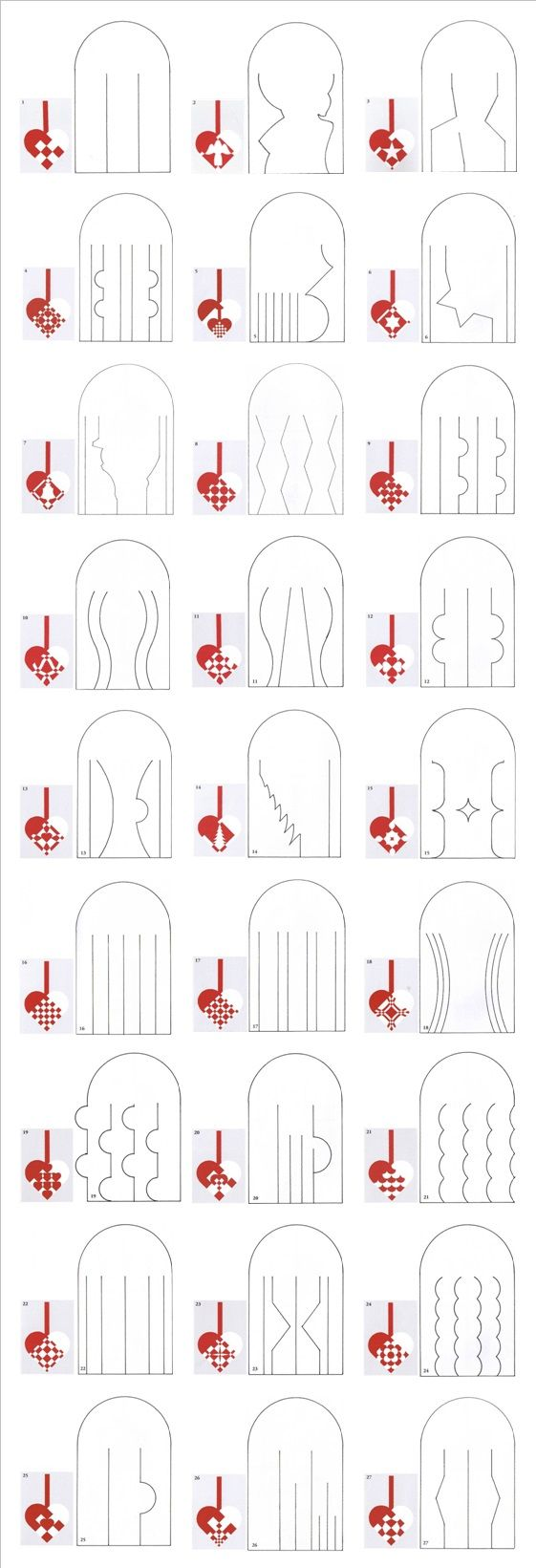 Templates for danish paper Christmas hearts. More