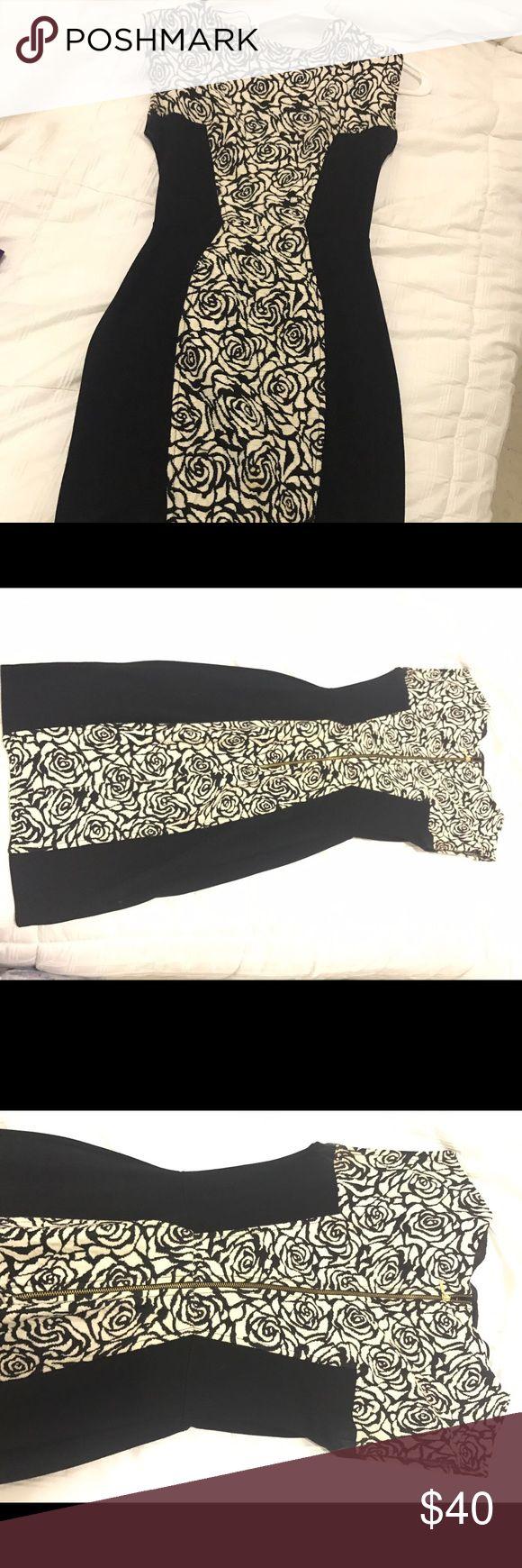 Black and white bodycon dress White bodycon dress with black sides ASOS Dresses