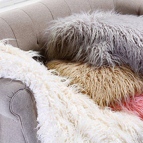 Cynthia Rowley Luxury Mongolian Lamb Wool Faux Fur Throw