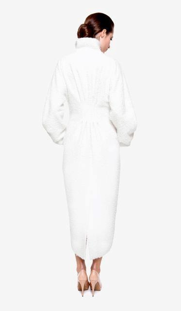 """Conception of designer Toth Bori: """"…I wanted to create a modern dutchess's look with my simple shaped coat…with the royalty of the silk white colour… Viscose-silk buklé coat with paliettes and Swarovski beading on the front. Silk lining."""" No.: 0019/Horegina"""