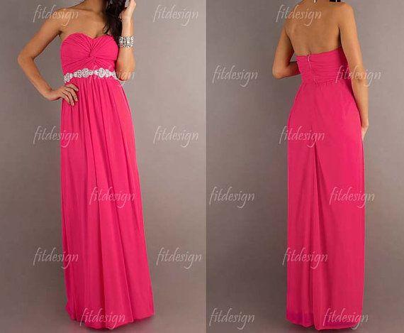 hot pink bridesmaid dress long bridesmaid dress by fitdesign, $126.00
