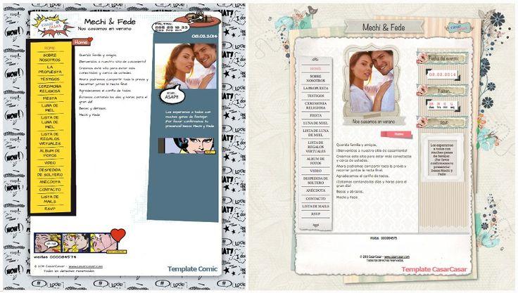 """Con nuestros nuevos templates para crear su página de casamiento personalizada nadie se queda afuera!!! Si son una pareja divertida y el centro de todas las fiestas, el modelo """"Comic"""" es ideal para ustedes!  Para los más clásicos, el modelo """"CasarCasar"""" tiene el toque de distinción perfecto para acompañarlos en la cuenta regresiva hasta al gran día!  Contamos con más de 45 opciones para elegir.  No se los pierdan http://casarcasar.com.ar/templates !!!"""