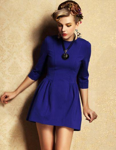 Blue Half Sleeve Zipper Slim Dress pictures