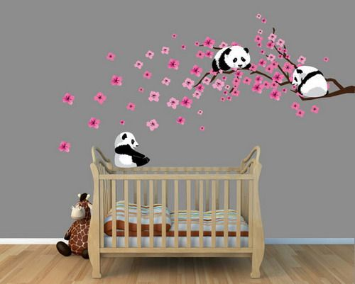 Panda Cherry Tree Wall Decals by Nursery Decals and More contemporary kids wall decor ideas