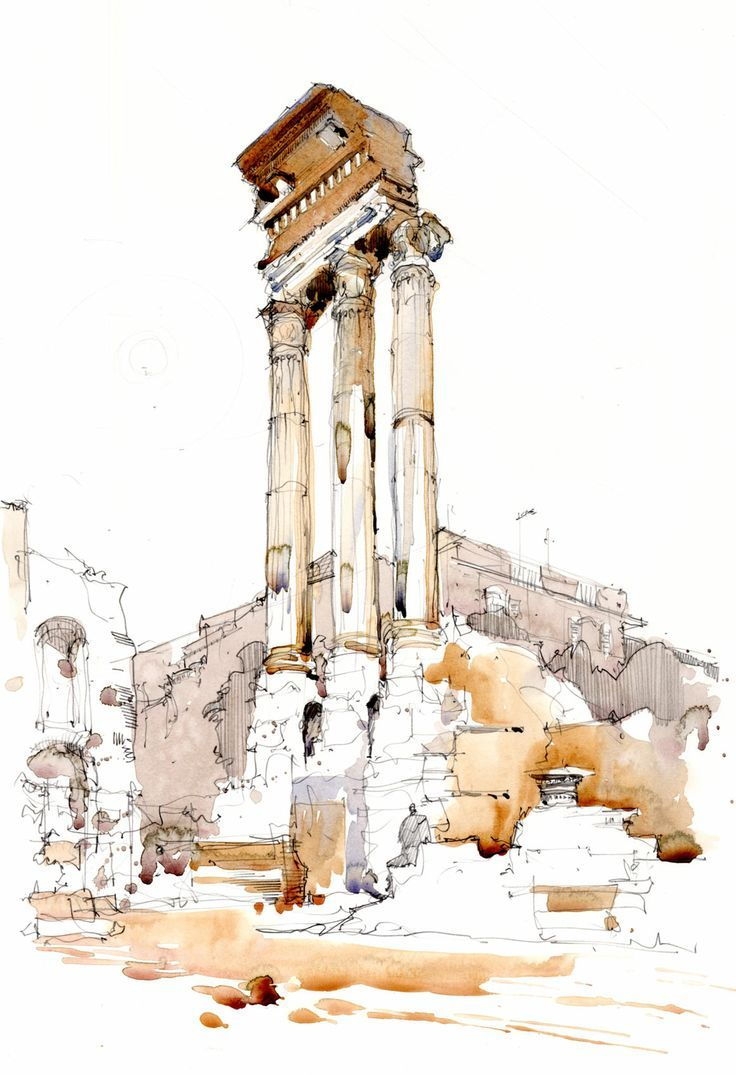 Line Art Watercolor : Best images about sketching buildings detail on