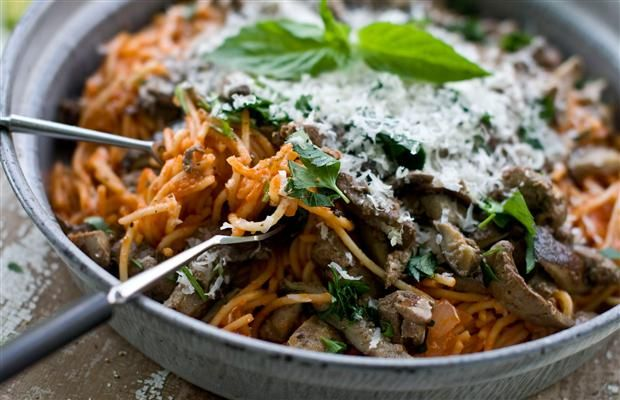 """Spaghetti and Chicken Livers recipe from """"Lard: The Lost Art of Cooking with Your Grandmother's Secret Ingredient"""" by the editors of GRIT Magazine"""