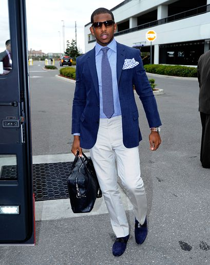 I like what Chris Paul does with the blues here. He has a lot of style for a basketball player. Plus he has some gorgeous eyes!!