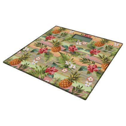 Fun Tropical Pineapple Fruit Floral Stripe Pattern Bathroom Scale - personalize design idea new special custom diy or cyo