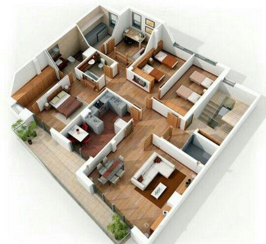 Pin de liz ribeiro en casas 3d pinterest 3d y casas for Plantas de casa adentro