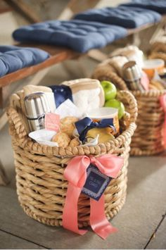 I would love this basket! Love the idea of a breakfast basket. Could do this for party with a basket of gifts behind each chair.