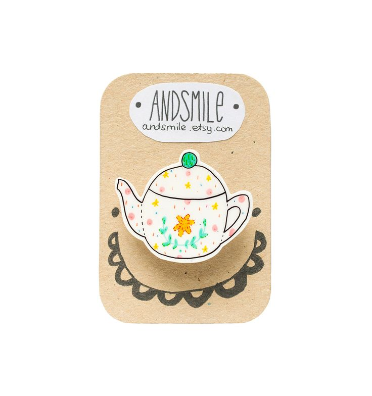 Etsy 2013 Christmas Gift Guide Hand-drawn plastic teapot brooch by And Smile #secretsanta #kriskringle