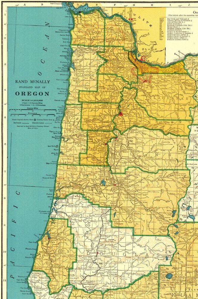 Vintage Oregon Map.1946 Antique Oregon Map Rare Size Vintage State Map Of Oregon W