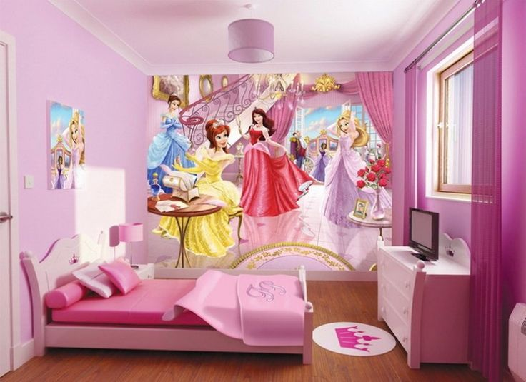 Pink wall art decor for bedroom with Disney Princess wall mural stickers