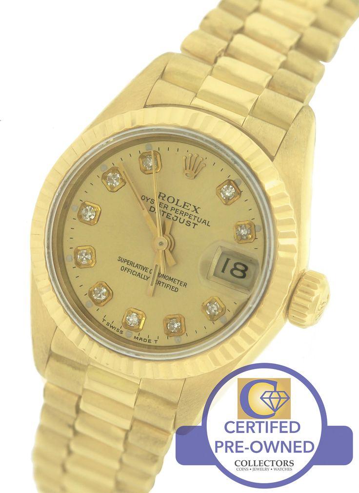 Ladies Rolex DateJust President 26mm 69178 18K Gold Diamond Watch Presidential