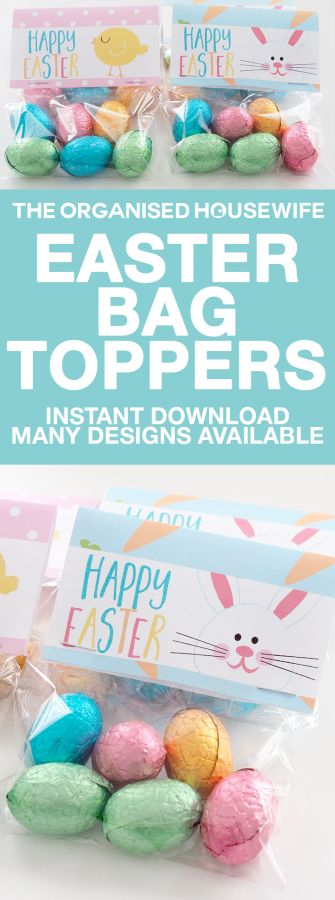 197 best easter images on pinterest organised housewife easter happy easter printable easter bag topper negle Images
