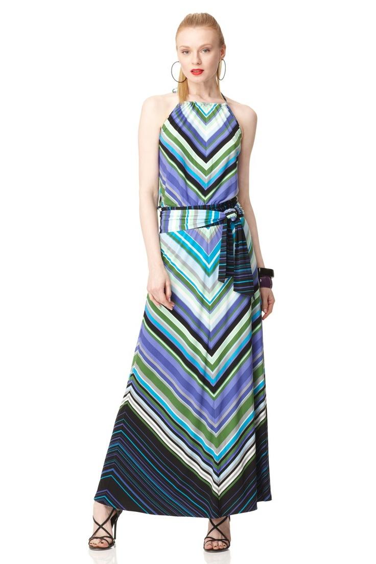 Belted Stripe Maxi
