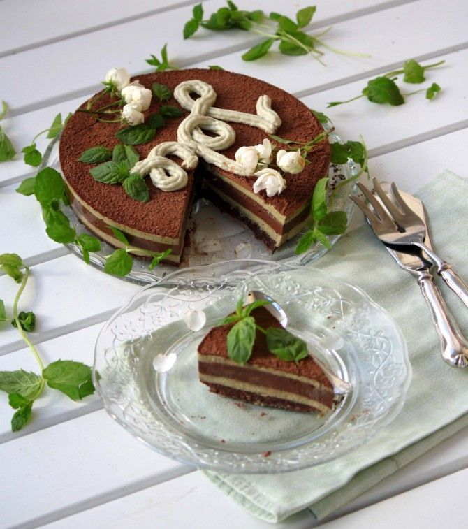 Joliekakku   Raw vegan mint chocolate cake