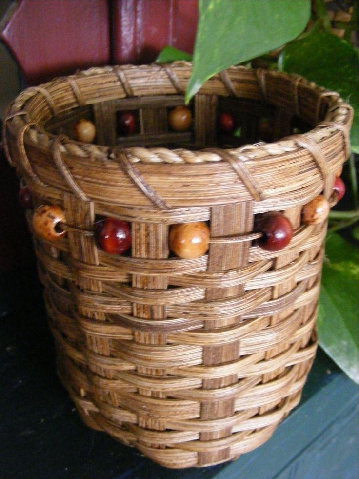 My first attempt at basket with beads woven in