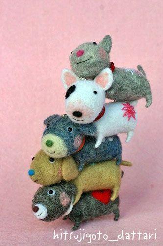 ◆ わんこ タワァー♪ ◆ : 羊ごとだったり・・・cute kawaii needle felted mini dog figures