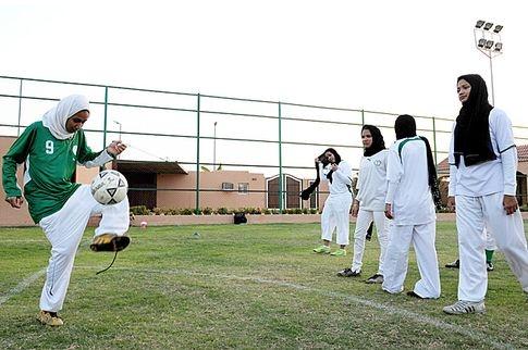 Jeddah Kings United's football ladies exercising in the Saudi port city of Jeddah.